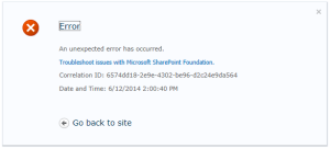 SharePoint My Site error